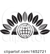 Black And White Icon With A Globe