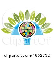 Colorful Tree Icon With A Globe by Lal Perera
