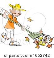 Happy White Woman Raking Leaves