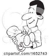 Cartoon Lineart Proud Black Father Holding His Baby