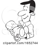 Cartoon Proud Black And White Father Holding His Baby