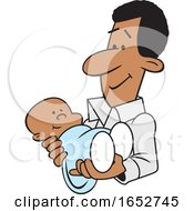 Cartoon Proud White Father Holding His Baby Boy