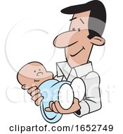 Cartoon Proud Hispanic Father Holding His Baby Boy