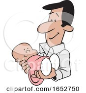 Cartoon Proud Hispanic Father Holding His Baby Girl