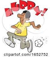 Cartoon Black Man Running Under Hurry Text