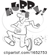 Cartoon Black And White Man Running With Hurry Text