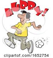 Cartoon Hispanic Man Running Under Hurry Text