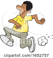 Cartoon Black Man Running by Johnny Sajem
