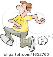 Cartoon White Man Running
