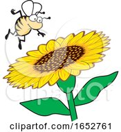 Cartoon Honey Bee Over A Flower