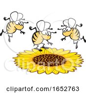 Cartoon Honey Bees Over A Flower
