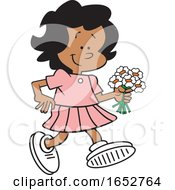 Cartoon Black Girl Walking With Flowers
