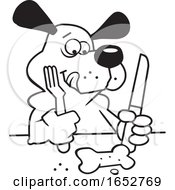 Cartoon Black And White Dog Ready To Eat A Biscuit With Cutlery