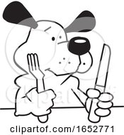 Cartoon Black And White Hungry Dog With Silverware