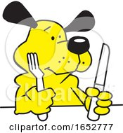 Cartoon Hungry Dog With Silverware by Johnny Sajem