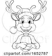 Cartoon Reindeer In Santa Hat Christmas