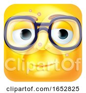 Poster, Art Print Of Nerdy Geek Emoji Emoticon Icon Cartoon Character