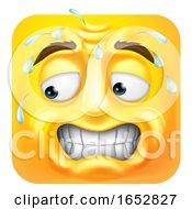 Poster, Art Print Of Sweating Worried Emoji Emoticon Icon Cartoon