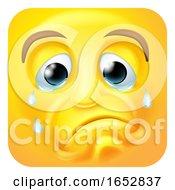 Poster, Art Print Of Sad Crying Emoji Emoticon Icon Cartoon Character