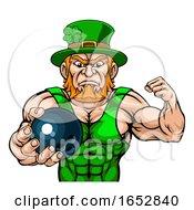 Poster, Art Print Of Leprechaun Holding Bowling Ball Sports Mascot