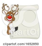 Reindeer Christmas Scroll Sign Cartoon