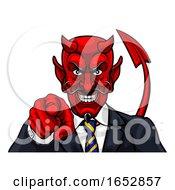 Devil Evil Businessman Pointing In Suit