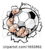 Poster, Art Print Of Soccer Ball Hand Tearing Background