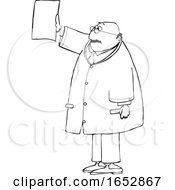 Cartoon Black And White Chubby Male Doctor Reviewing An XRay