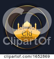 Eid Mubarak Background With Mosque Silhouette
