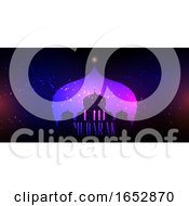 Eid Mubarak Background With Mosque Silhouette On Bokeh Lights Design by KJ Pargeter