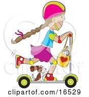 Happy Little Brunette Girl Riding On A Kick Scooter With Her Puppy And Purse Full Of Stuffed Animal Toys Clipart Illustration Graphic