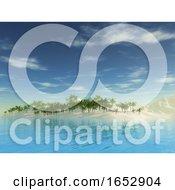 3D Tropical Palm Tree Island Landscape