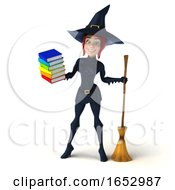 3d Sexy Blue Witch On A White Background