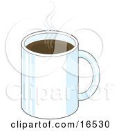 White Mug Of Steaming Hot Coffee In A Cafe Clipart Illustration Graphic
