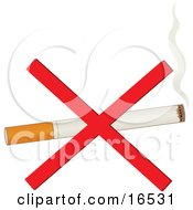 Single Lit Cigarette With A Billow Of Smoke And Ashes At The Tip With A Red Cross Over It For No Smoking