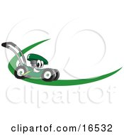 Green Lawn Mower Mascot Cartoon Character On A Logo Or Nametag With A Green Dash