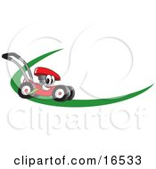Red Lawn Mower Mascot Cartoon Character On A Logo Or Nametag With A Green Dash
