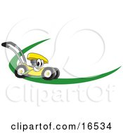 Clipart Picture Of A Yellow Lawn Mower Mascot Cartoon Character On A Logo Or Nametag With A Green Dash by Toons4Biz