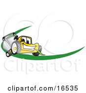 Yellow Lawn Mower Mascot Cartoon Character Facing Front On A Logo Or Nametag With A Green Dash