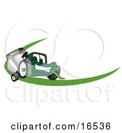 Green Lawn Mower Mascot Cartoon Character Facing Front On A Logo Or Nametag With A Green Dash by Toons4Biz