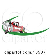 Clipart Picture Of A Red Lawn Mower Mascot Cartoon Character Facing Front On A Logo Or Nametag With A Green Dash by Toons4Biz