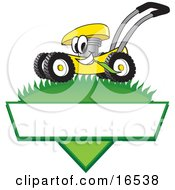 Clipart Picture Of A Yellow Lawn Mower Mascot Cartoon Character Mowing Grass Over A Blank White Label by Toons4Biz #COLLC16538-0015