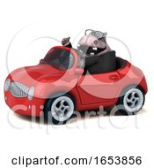 3d Business Hippo Driving A Convertible On A White Background