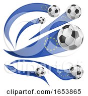 European Flag Banners With Soccer Balls