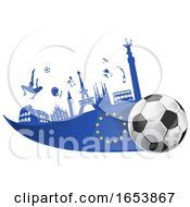 European Flag Soccer Ball And Icon Background