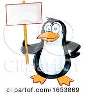 Cartoon Penguin Holding A Blank Sign
