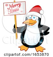 Cartoon Penguin Holding A Merry Christmas Sign