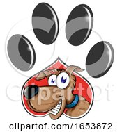 Cartoon Dog Emerging From A Paw Print