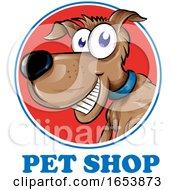 Cartoon Dog Over Pet Shop Text