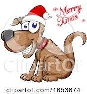 Cartoon Dog Wearing A Santa Hat With A Merry Christmas Greeting